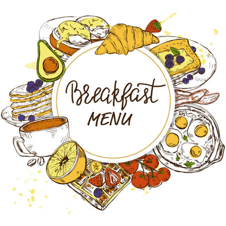 Set of hand drawn traditional breakfast dishes, bakery and drinks