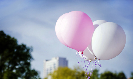 balloons white and pink in blue sky with green and yellow trees  Stock Photo