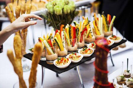 catering vegetable meat fish canape dinner event celebration Standard-Bild