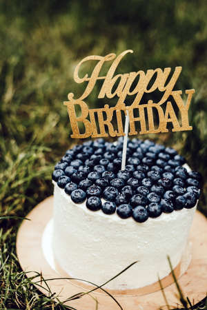 Beautiful festive curd childrens cake with blueberries with the inscription Happy Birthday