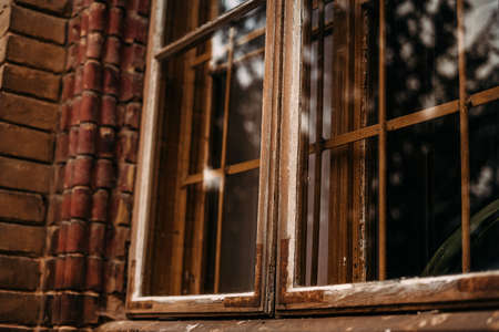 Photo of a window in an old brick building with reflection of trees and sun Standard-Bild
