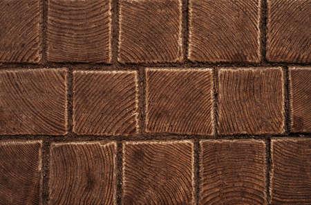 Tile brown bricks texture background close up