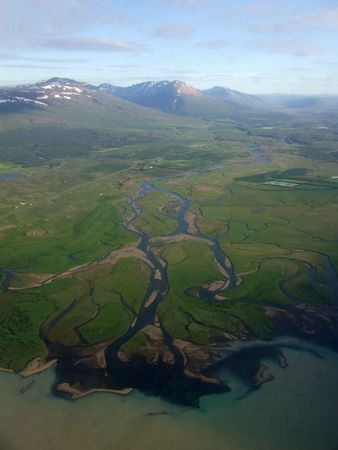 east river: This is unique and amazing view on Icelandic East fjords from air.