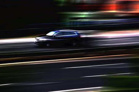 motion picture: Speed up and drive - this is car in motion at highway.