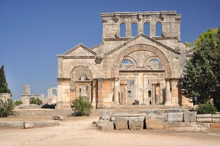 Well preserved church that dates back to the 5th century, located about 30 km northwest of Aleppo, Syria. photo