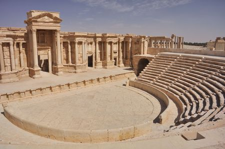 but: The second most noteworthy remain in Palmyra is the theater, today having 9 rows of seating, but most likely having up to 12 with the addition of wooden structures. It has been dated to the early 1st century AD. Stock Photo