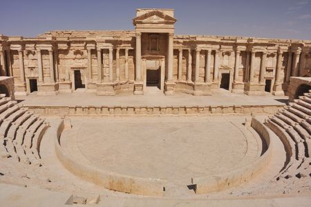 noteworthy: The second most noteworthy remain in Palmyra is the theater, today having 9 rows of seating, but most likely having up to 12 with the addition of wooden structures. It has been dated to the early 1st century AD. Stock Photo
