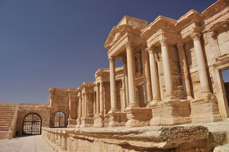 1st century ad: The second most noteworthy remain in Palmyra is the theater, today having 9 rows of seating, but most likely having up to 12 with the addition of wooden structures. It has been dated to the early 1st century AD. Stock Photo