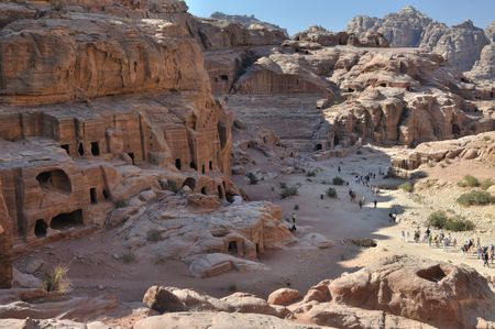 Petra is a historic and archaeological city in the Jordanian governorate of Maan that has rock cut architecture and water conduits system. Stock Photo