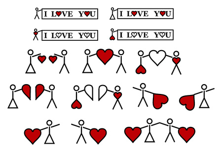 This is jpg with 12 little figures to love, saint valentine, valentine's day... Stock Vector - 6285953