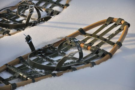 snowshoes: snowshoes - you can walk on snow with them. Stock Photo