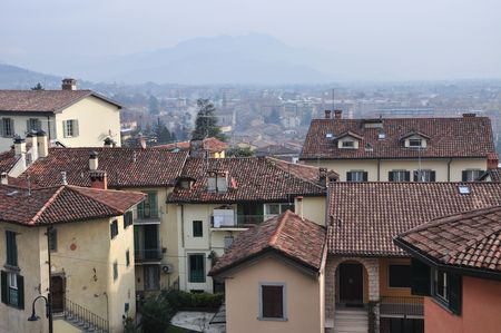 Old fashioned houses, in older part of Italian Bergamo.