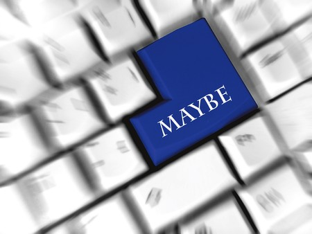 maybe: maybe - enter sign Stock Photo