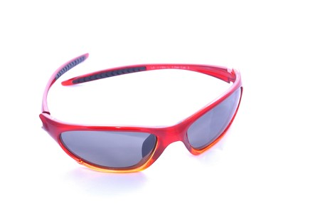 Red sunglasesses for sport activity with polarized lenses, isolated on white. Stock Photo - 7461946