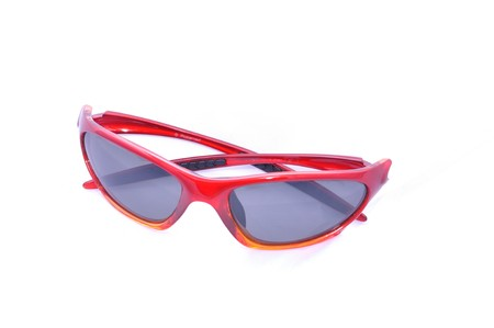Red sunglasesses for sport activity with polarized lenses, isolated on white. Stock Photo - 7461949