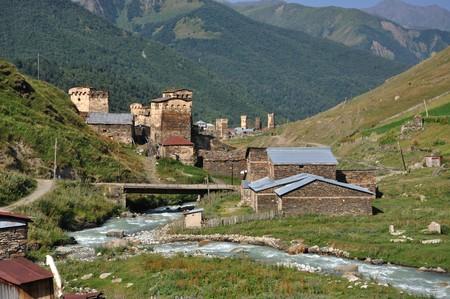 svaneti: Very beautiful village Usghuli in Upper Svaneti, Georgia.