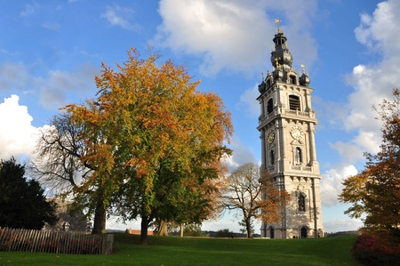 This is beautiful Belfry in Belgium city Mons, located ut the hill.