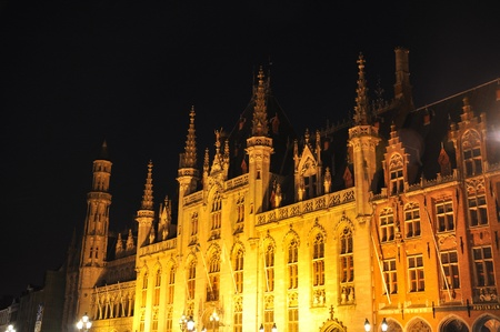 Brugge (Bruges), Belgium Town Hall on the Burg square built 1386  photo