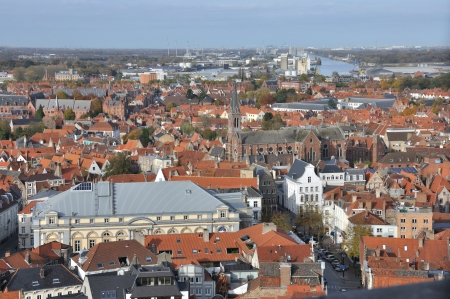 Birds eye view of Brugge (Belgium), taken from the city tower.