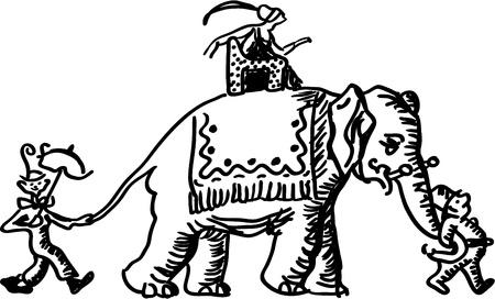 Clowns and princess on elephant Stock Vector - 18438017