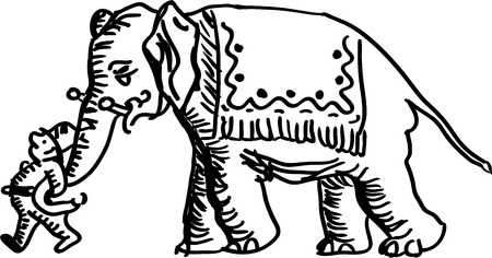 Man leading an elephant  Vector
