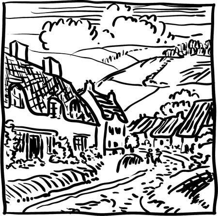 Village landscape Stock Vector - 18441469