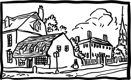 Village landscape Stock Vector - 18441468