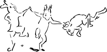 trio: Trio of happy bunnies - black and white illustration