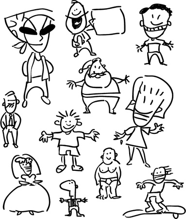 Set of people - simple cartoon drawings, back and white Vector