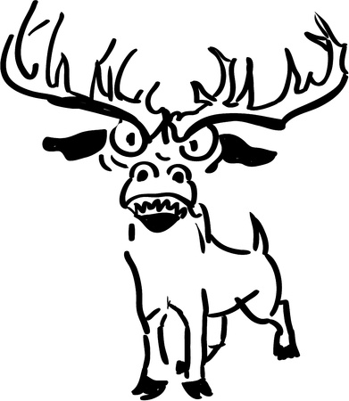 Upset and angry reindeer - black and white illutration Vector