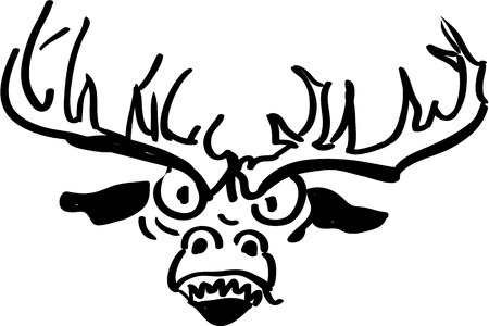 christmas tattoo: Upset and angry reindeer - black and white illutration