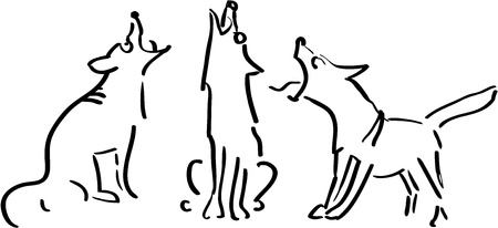 barking dog: Three howling dogs, black and white illustration