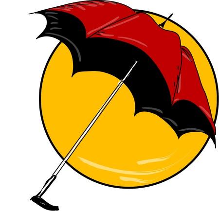 Red umbrella in yellow circle Stock Vector - 18732159