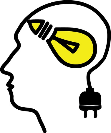 Head with bulb symbol and plug, simple illustration Stock Illustration - 20825138
