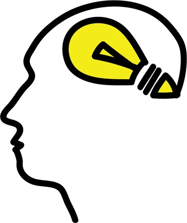Head with bulb symbol, simple illustration Stock Illustration - 20825139