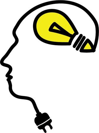 Head with bulb symbol and plug, simple illustration Stock Illustration - 20825141