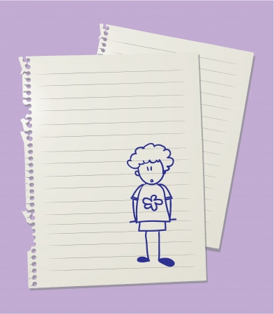 ordinary: Drawing of ordinary boy on linkedd paper sheet