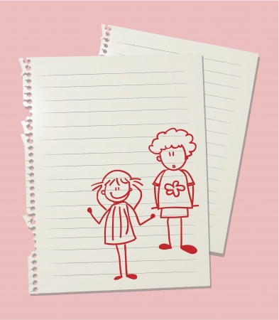 ordinary: Drawing of ordinary boy and girl on linkedd paper sheet