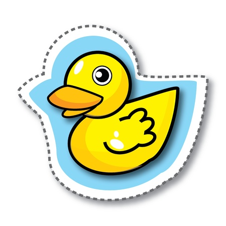 Cute yellow duck on blue sticker, illustration
