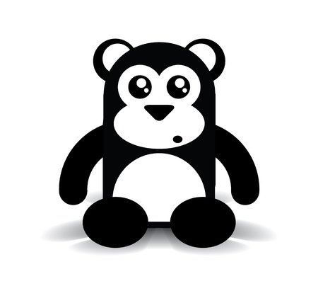 Black and White Cute Sitting Bear, illustration illustration