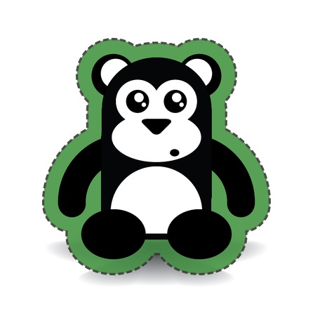 Black and White Cute Sitting Bear Sticker, illustration Stock Illustration - 20825157