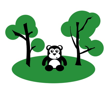 Black and White Cute Sitting Bear Between Trees, illustration illustration