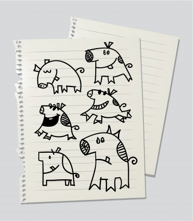 grunter: Drawinf of pigs and piggys on linked paper sheet Stock Photo