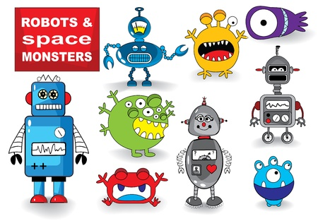 Set of Cute Robots and Monsters, illustration illustration