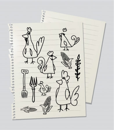 Drawinf of chickens and hens on linked paper sheet photo