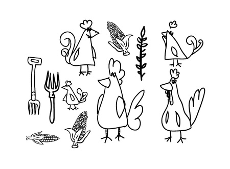 pullet: Drawinf of chickens and hens on linked paper sheet