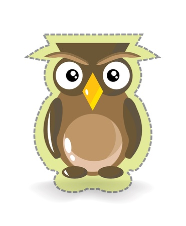 Cute and Simple Brown Owl Sticker, illustration Stock Illustration - 20825257