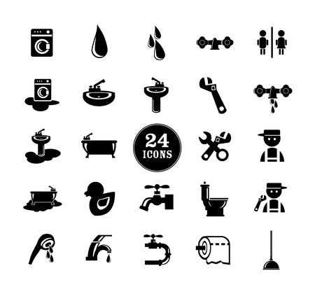 fontanero: Iconos negros del cuarto de ba�o fijados, ilustraci�n