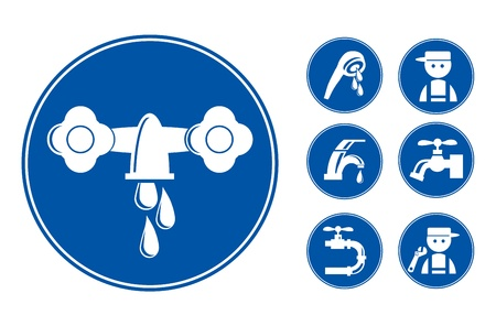 Blue Faucet / Tap Icons Set,  illustration illustration