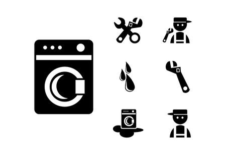 Black Washing machine  Icons Set, illustration Stock Illustration - 21158978